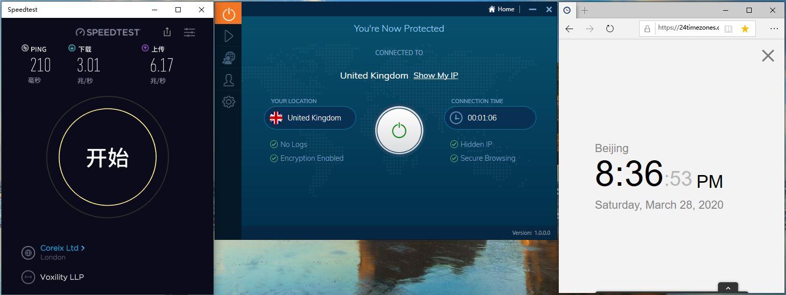 Windows10 IvacyVPN UK 中国VPN翻墙 科学上网 Speedtest测速 - 20200328