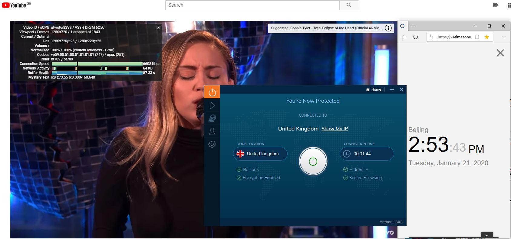 Windows10 IvacyVPN UK 中国VPN翻墙 科学上网 Youtube测速-20200121