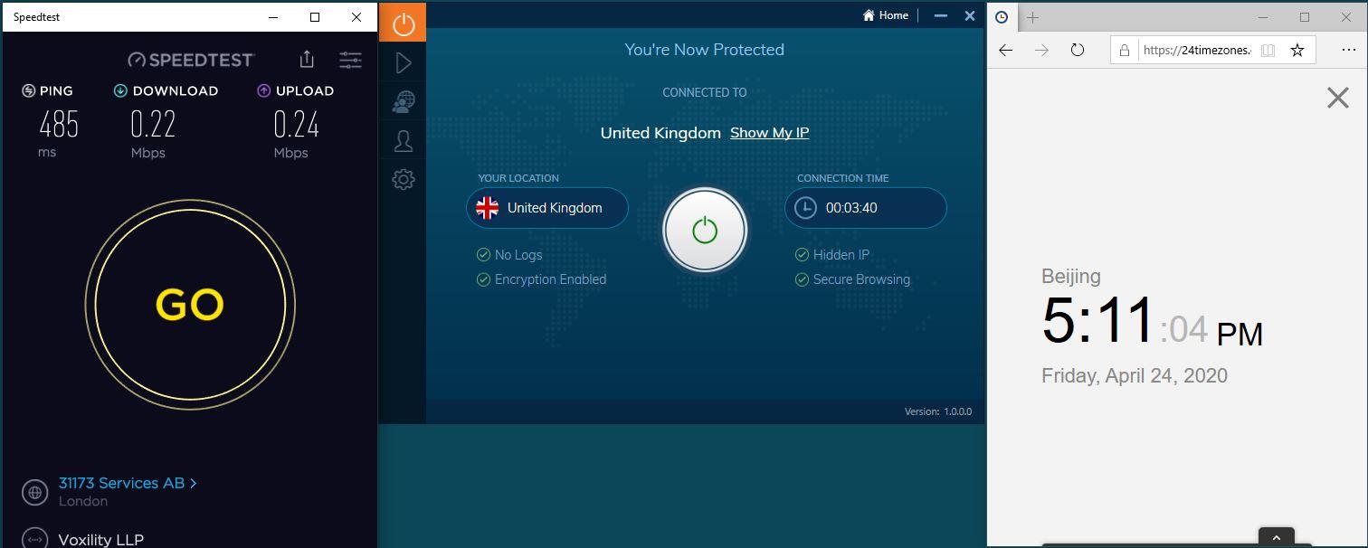 Windows10 IvacyVPN UK 中国VPN 翻墙 科学上网 SpeedTest测速-20200424