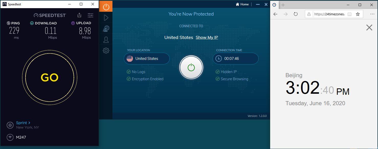 Windows10 IvacyVPN USA 中国VPN 翻墙 科学上网 测速-20200616