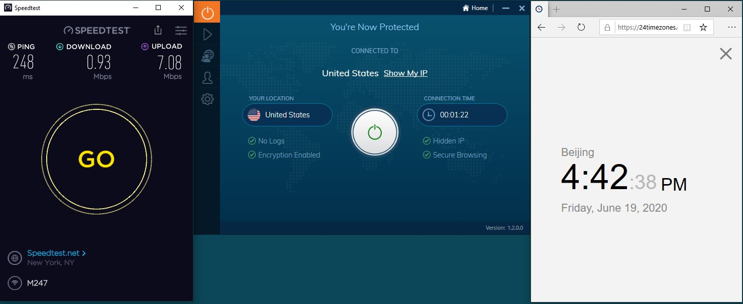 Windows10 IvacyVPN USA 中国VPN 翻墙 科学上网 测速-20200619