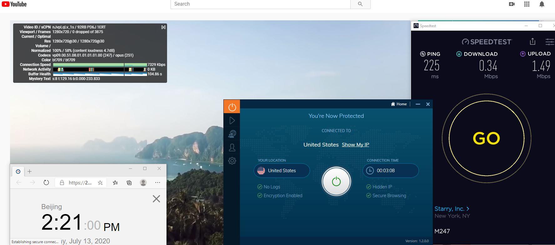 Windows10 IvacyVPN USA 中国VPN 翻墙 科学上网 测速-20200713