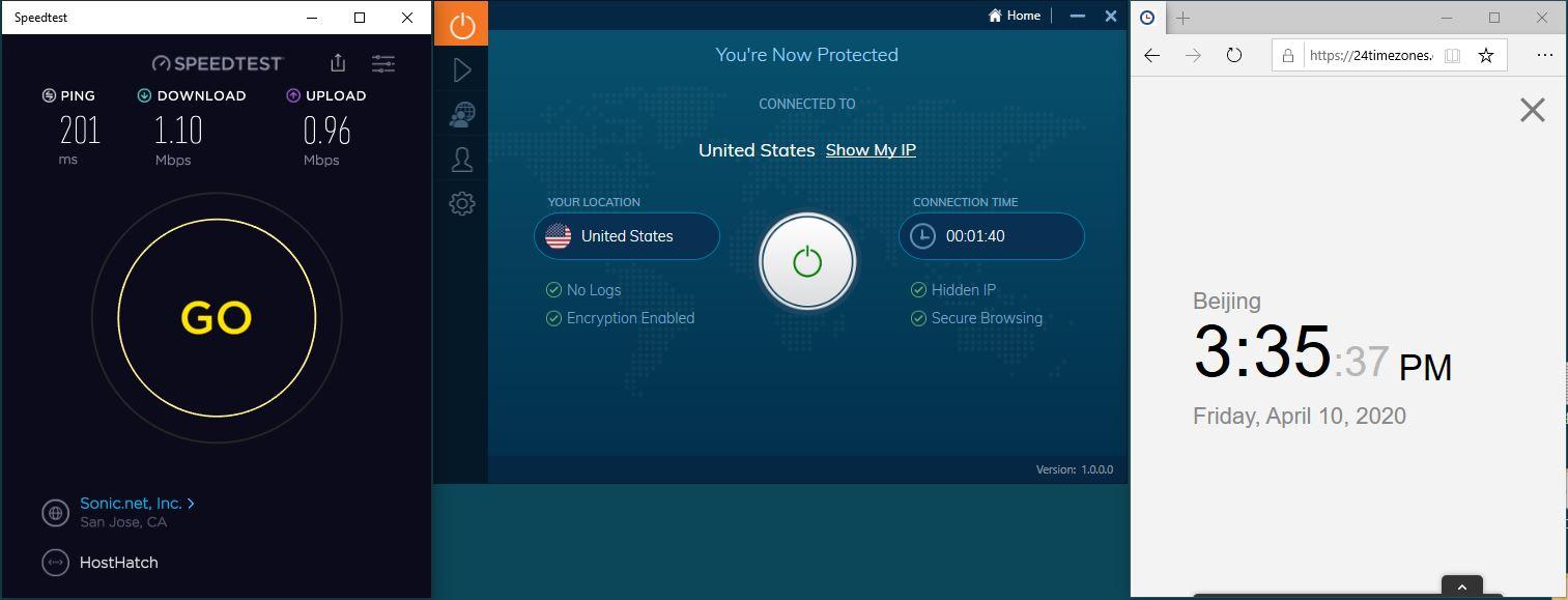 Windows10 IvacyVPN USA 中国VPN 翻墙 科学上网 SpeedTest测速-20200410