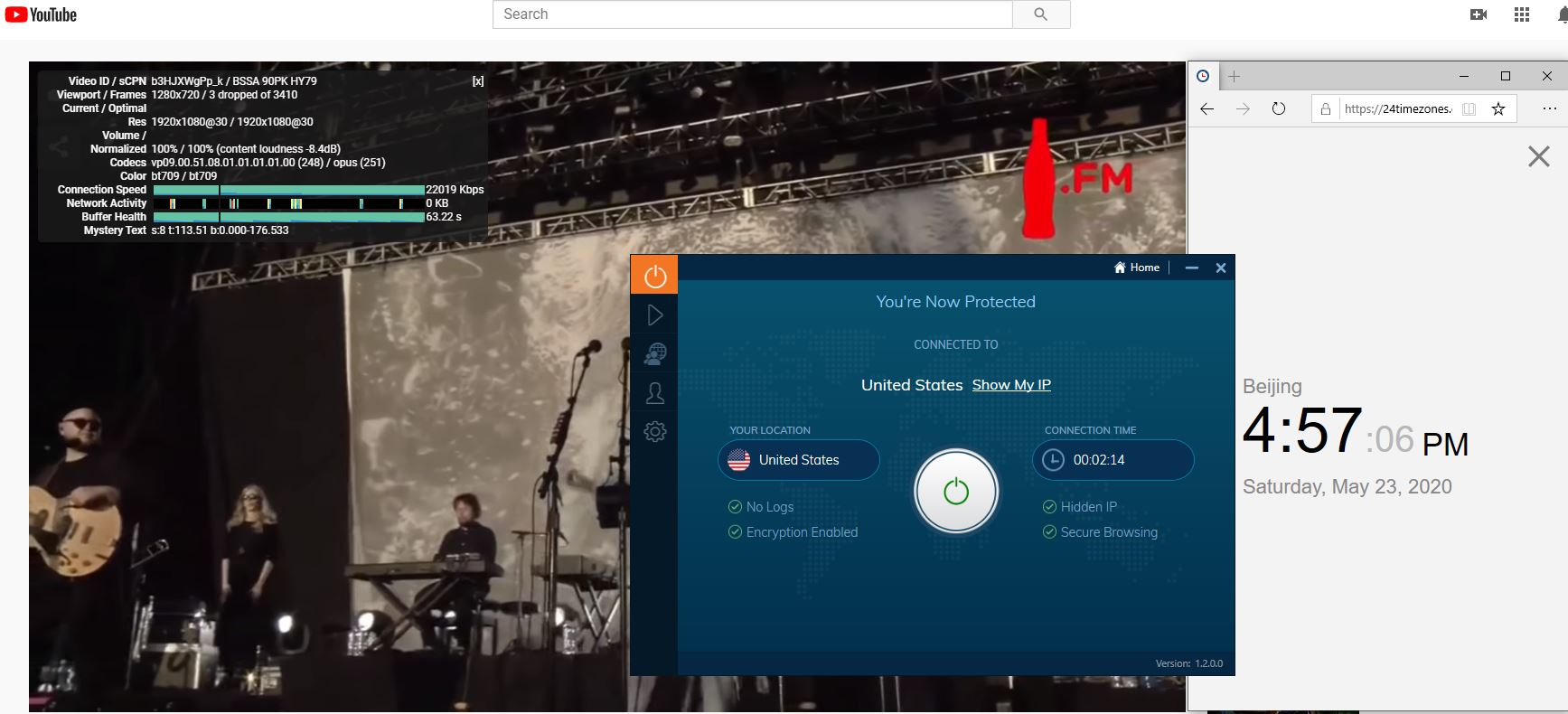 Windows10 IvacyVPN USA 中国VPN 翻墙 科学上网 youtube测速-20200523