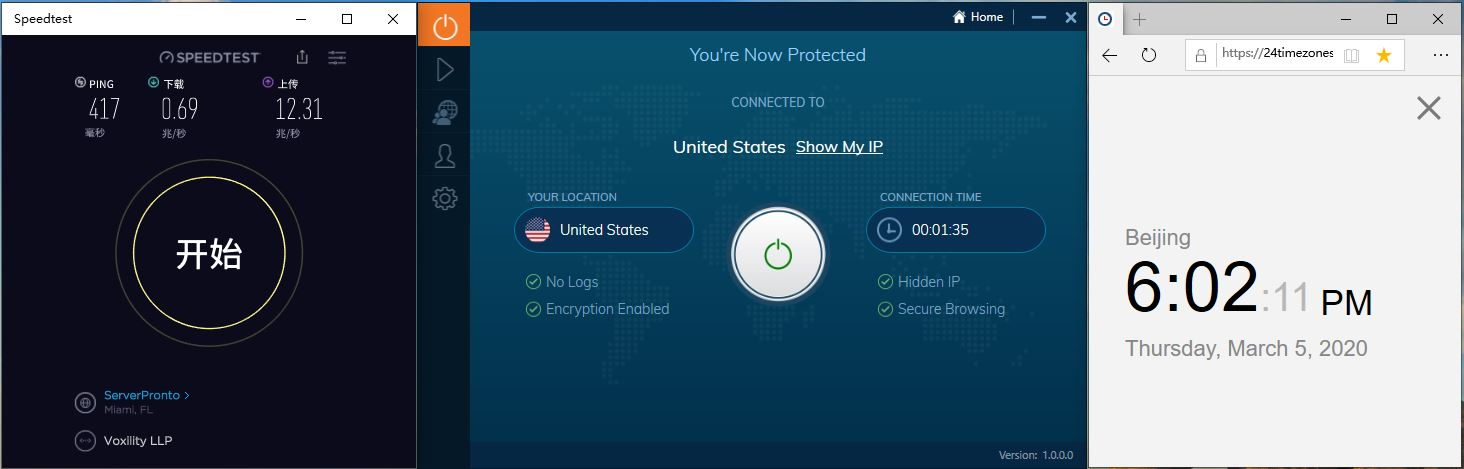 Windows10 IvacyVPN United States 中国VPN翻墙 科学上网 SpeedTest测速 - 20200305