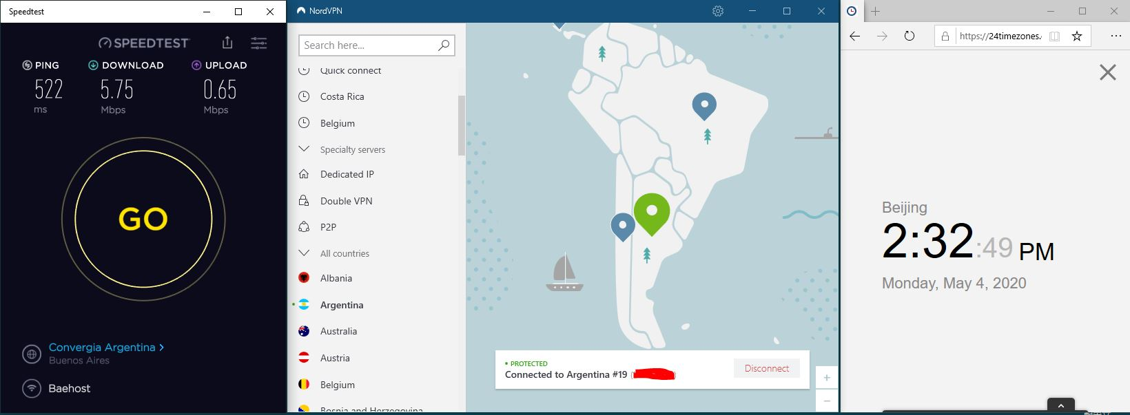 Windows10 NordVPN 混淆协议关闭 Argentina #19 中国VPN 翻墙 科学上网 SpeedTest测速-20200504