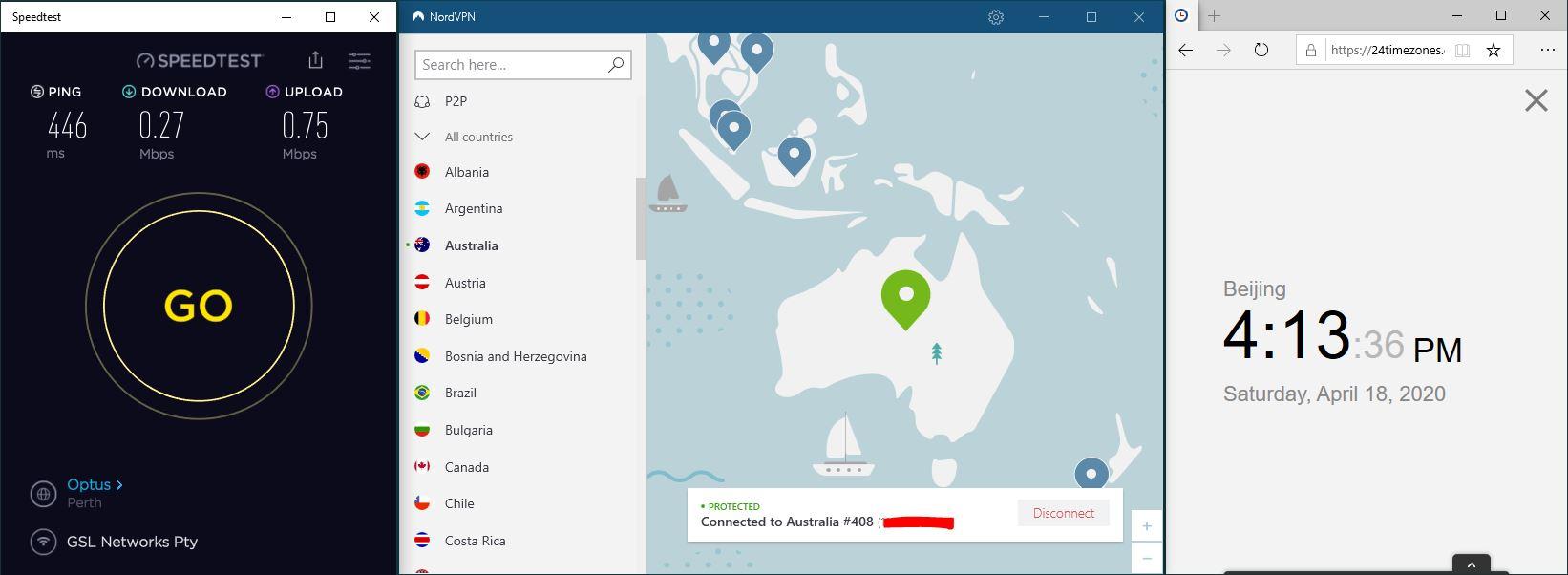 Windows10 NordVPN 混淆协议关闭 Australia #408 中国VPN 翻墙 科学上网 SpeedTest测速-20200418