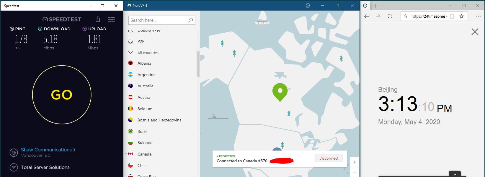 Windows10 NordVPN 混淆协议关闭 Canada #570 中国VPN 翻墙 科学上网 SpeedTest测速-20200504