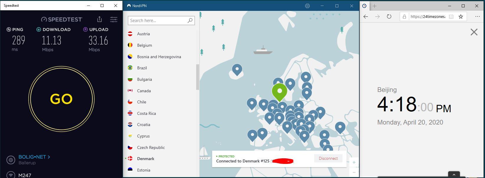 Windows10 NordVPN 混淆协议关闭 Denmark #125 中国VPN 翻墙 科学上网 SpeedTest测速-20200420