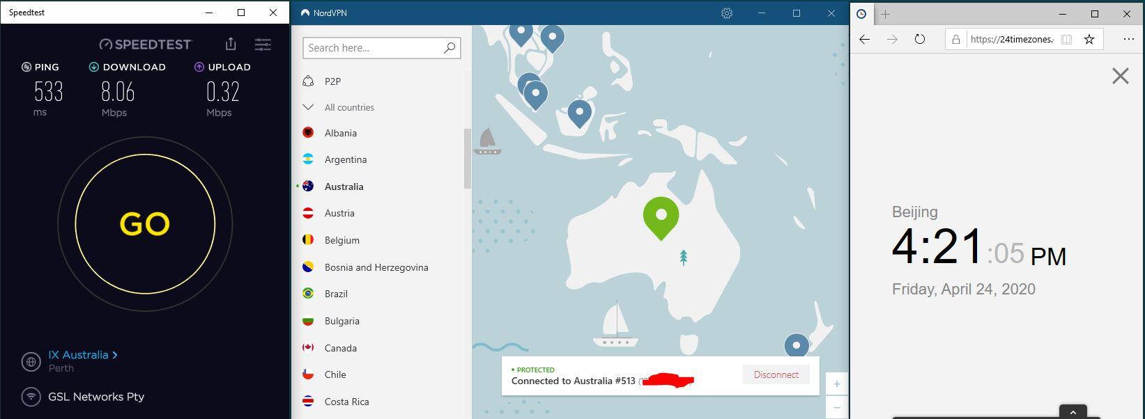 Windows10 NordVPN Australia #513 中国VPN 翻墙 科学上网 SpeedTest测速-20200424