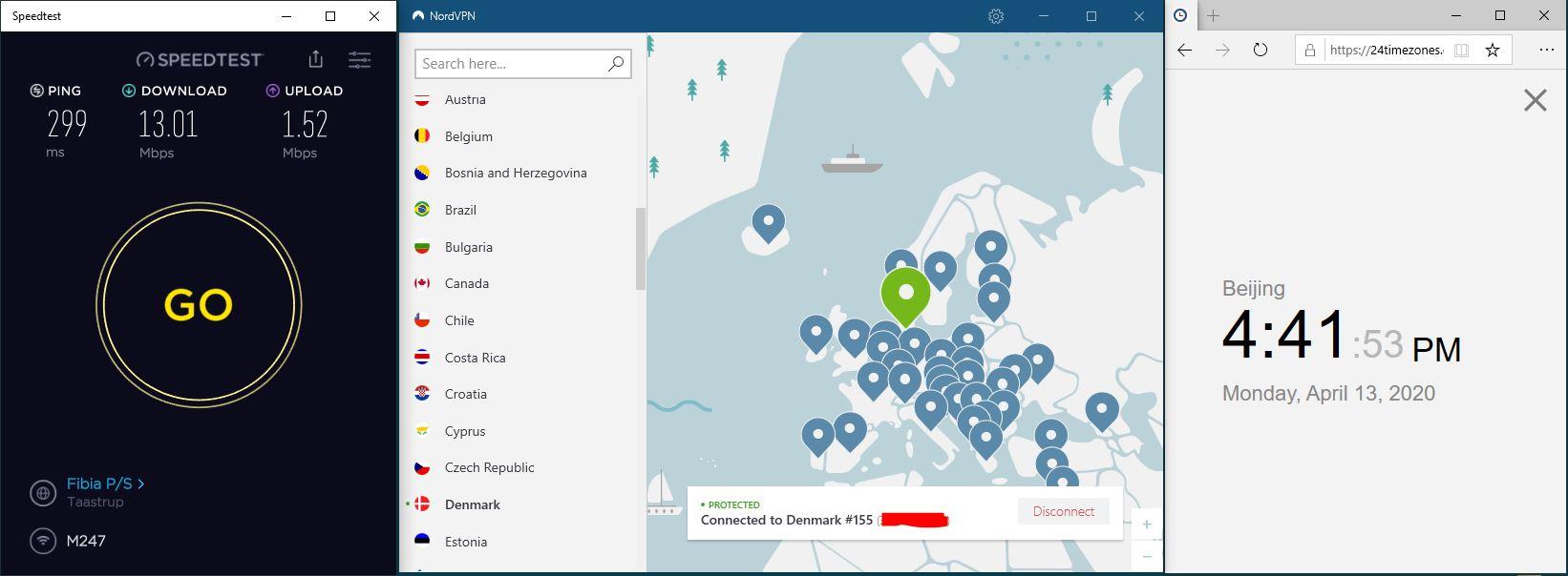 Windows10 NordVPN Denmark #155 中国VPN 翻墙 科学上网 SpeedTest测速-20200413