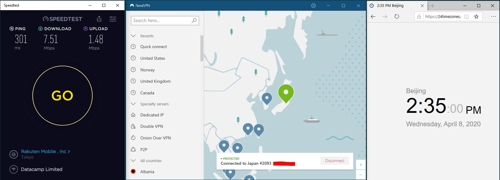 Windows10 NordVPN Japan #2093 中国VPN翻墙 科学上网 SpeedTest测速-20200408