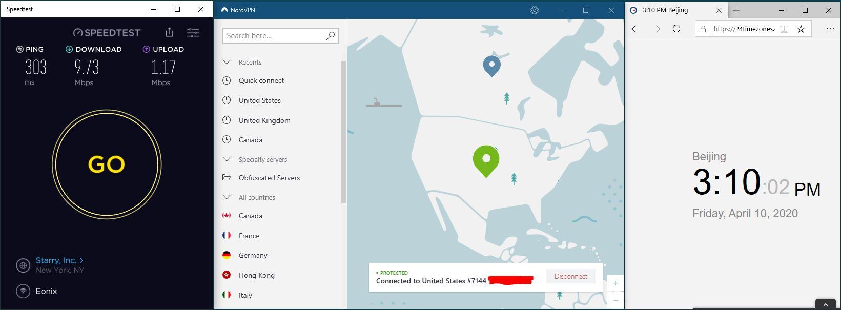 Windows10 NordVPN USA #7144 中国VPN翻墙 科学上网 SpeedTest测速-20200410
