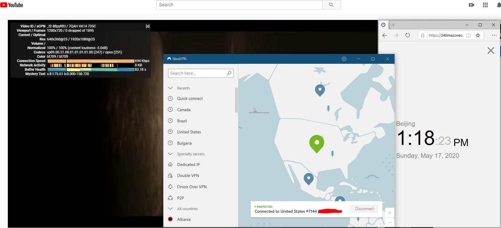 Windows10 NordVPN USA #7144 中国VPN 翻墙 科学上网 youtube测速-20200517
