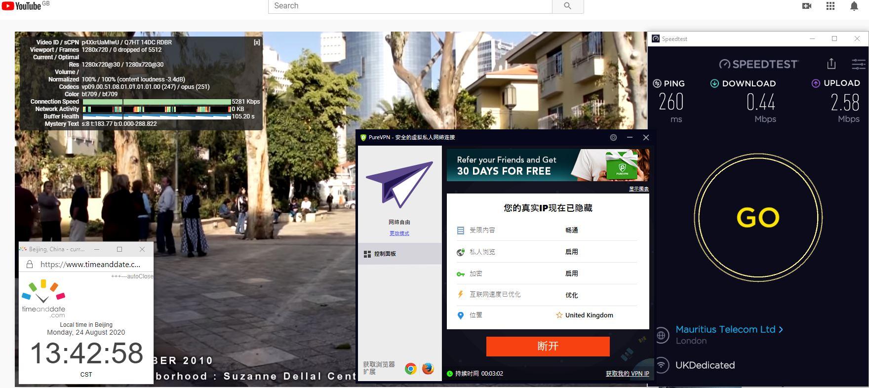Windows10 PureVPN 自由网络 UK 中国VPN 翻墙 科学上网 翻墙速度测试 SpeedTest - 20200824