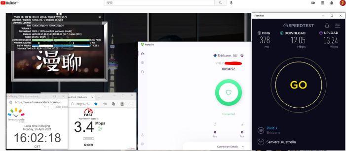 Windows10 PureVPN IKEv2协议 Australia - Brisbane 服务器 中国VPN 翻墙 科学上网 10BEASTS Barry测试 - 20210426