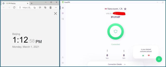 Windows10 PureVPN IKEv2 Canada - Vancouver 服务器 中国VPN 翻墙 科学上网 10BEASTS Barry测试 - 20210301-2