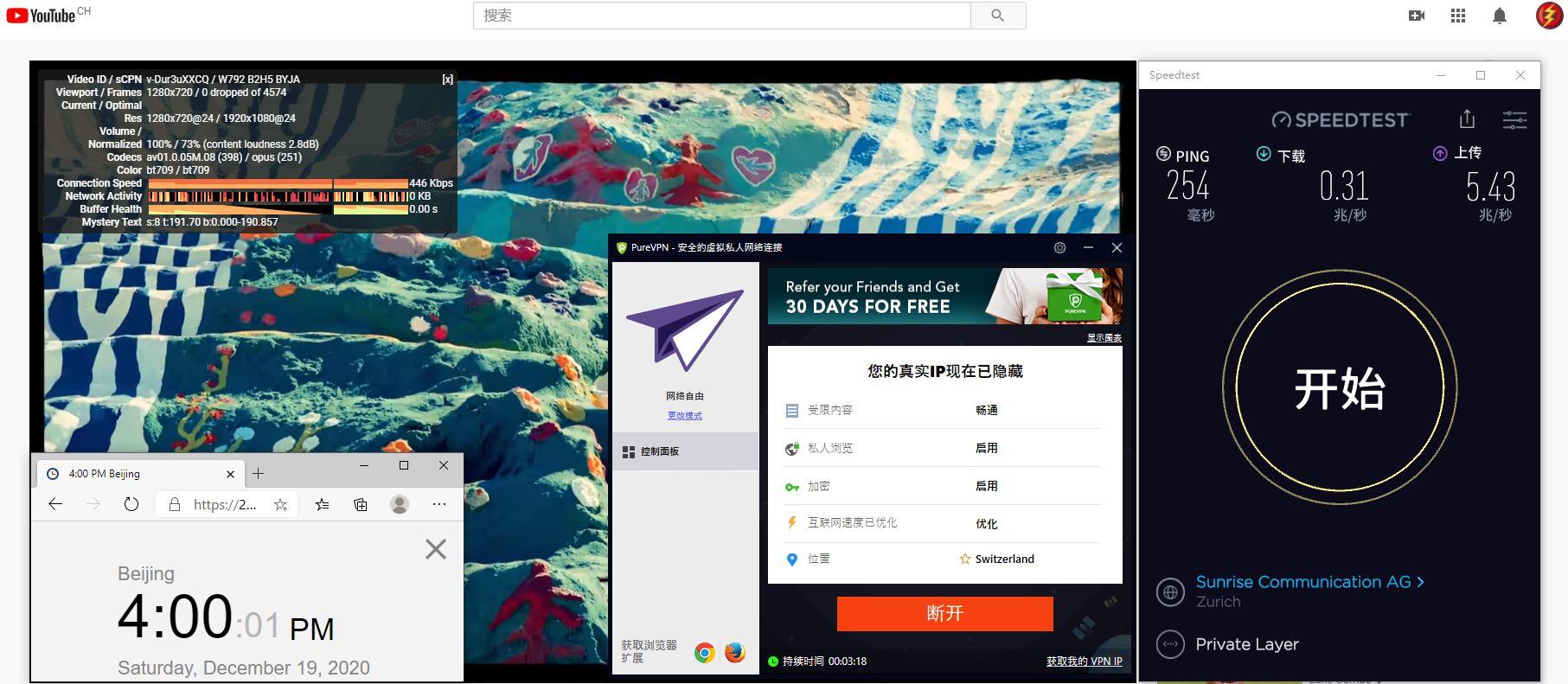 Windows10 PureVPN Switzerland 服务器 中国VPN 翻墙 科学上网 测试 - 20201219