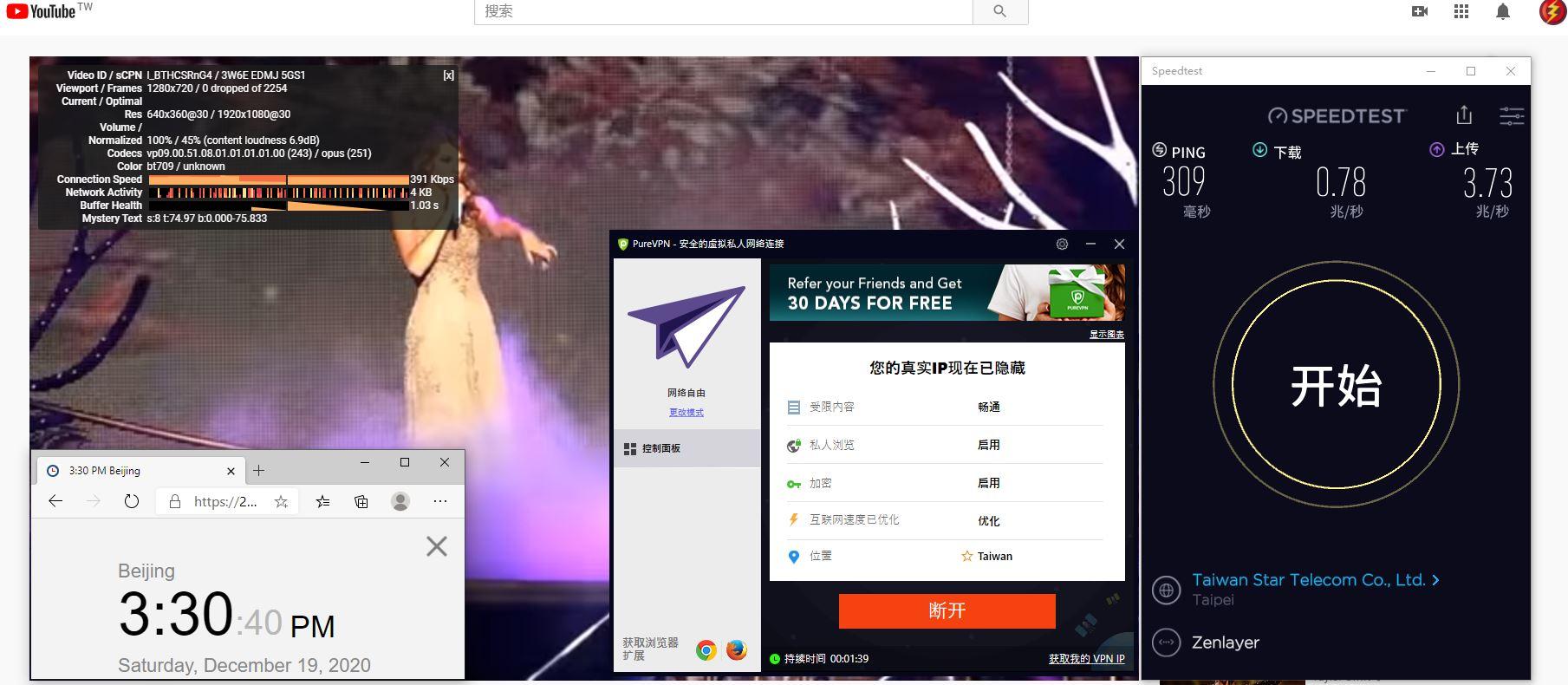 Windows10 PureVPN Taiwan 服务器 中国VPN 翻墙 科学上网 测试 - 20201219