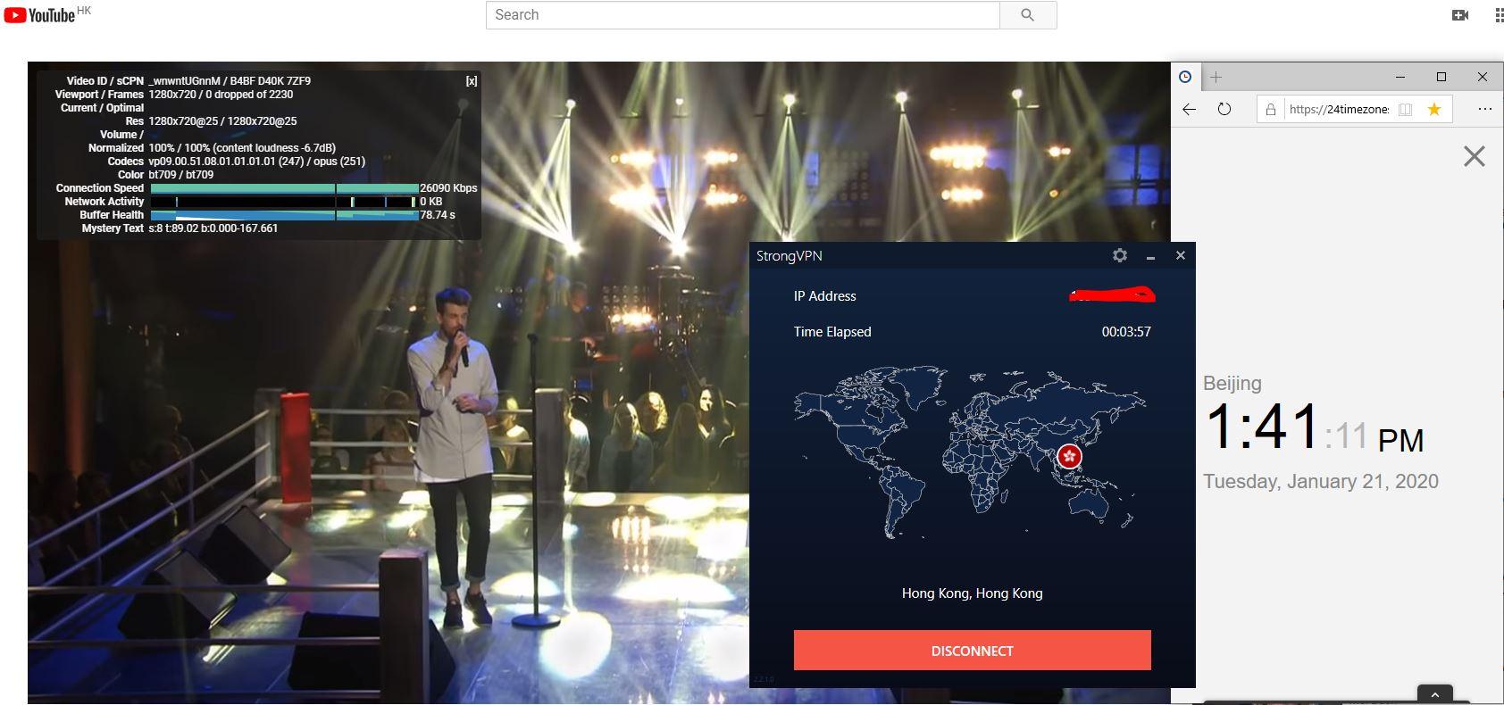 Windows10 StrongVPN Hong Kong 中国VPN翻墙 科学上网 Youtube测速-20200121