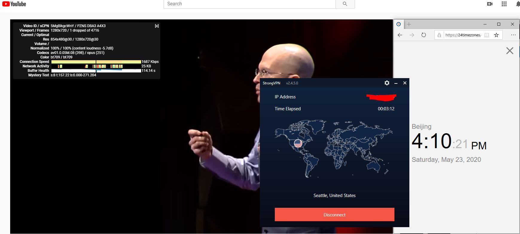 Windows10 StrongVPN IKEv2 USA-Seattle 中国VPN 翻墙 科学上网 youtube测速-20200523