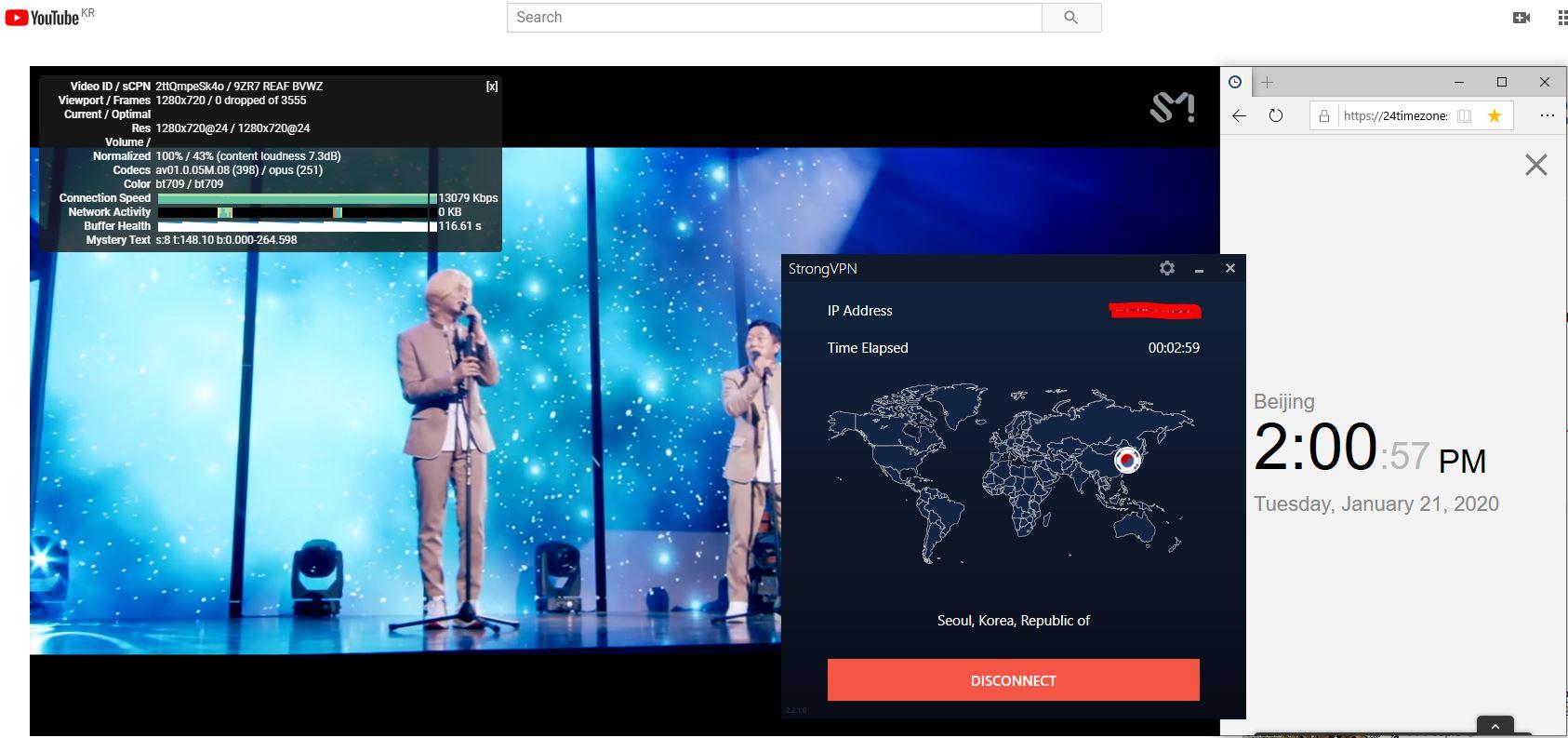 Windows10 StrongVPN Korea 中国VPN翻墙 科学上网 Youtube测速-20200121