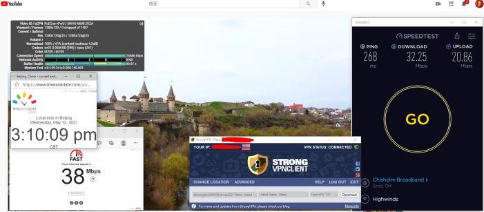 Windows10 StrongVPN OpenVPN-TCP协议 USA - Miami 302 服务器 中国VPN 翻墙 科学上网 10BEASTS Barry测试 - 20210512