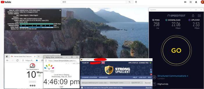 Windows10 StrongVPN TCP协议 UK - London 314 服务器 中国VPN 翻墙 科学上网 10BEASTS Barry测试 - 20210526