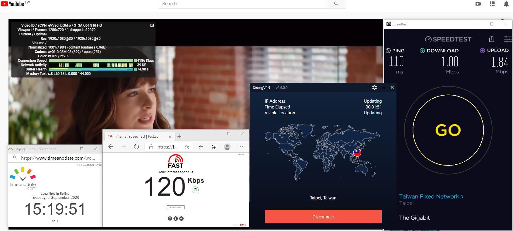 Windows10 StrongVPN Taiwan 中国VPN 翻墙 科学上网 翻墙速度测试 - 20200908