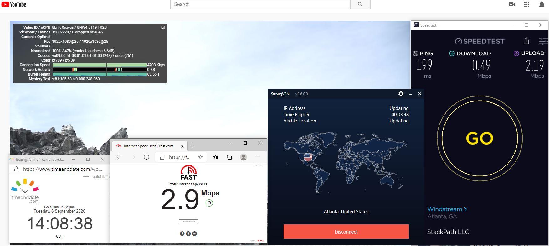 Windows10 StrongVPN USA - Atlanta 中国VPN 翻墙 科学上网 翻墙速度测试 - 20200908