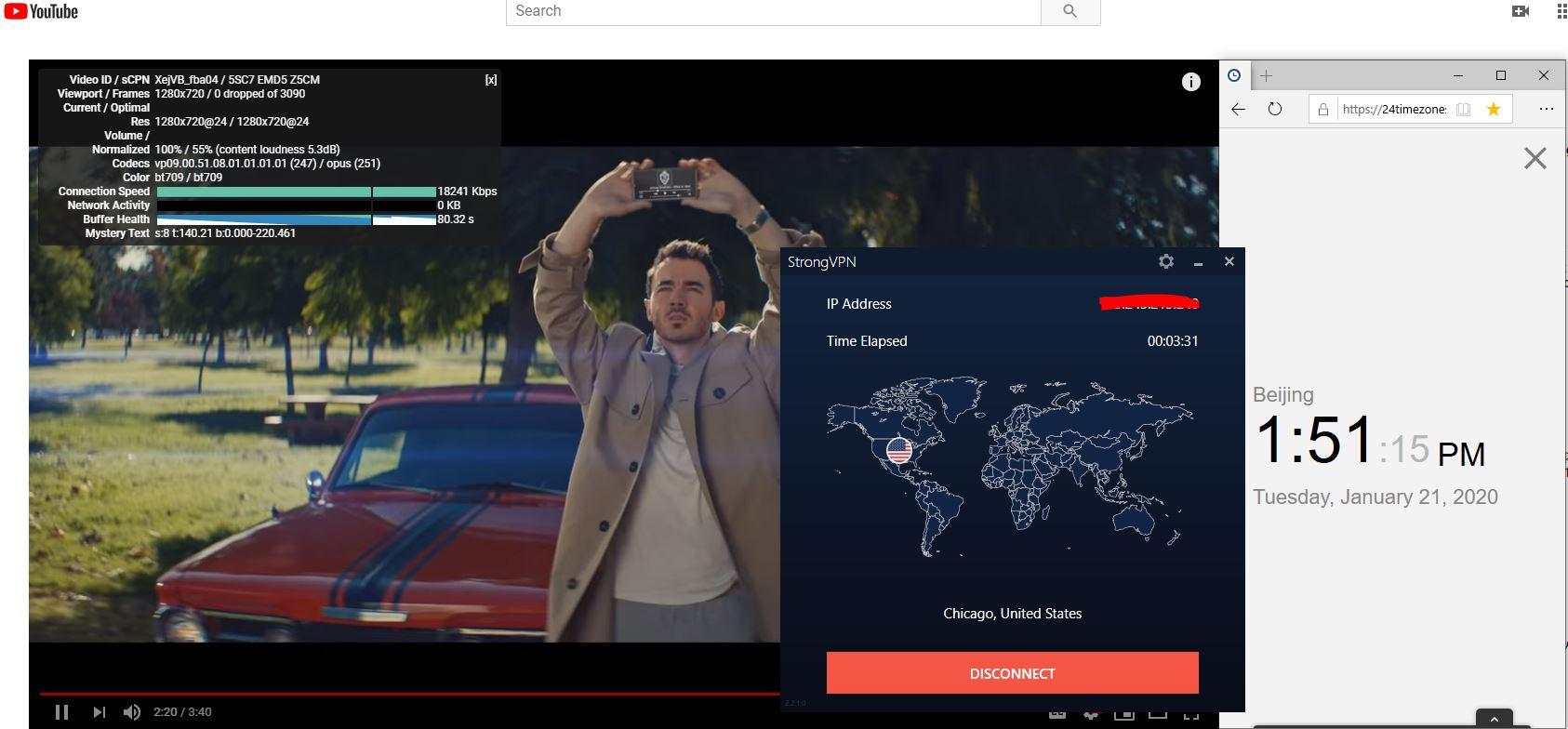 Windows10 StrongVPN USA-Chicago 中国VPN翻墙 科学上网 Youtube测速-20200121-2