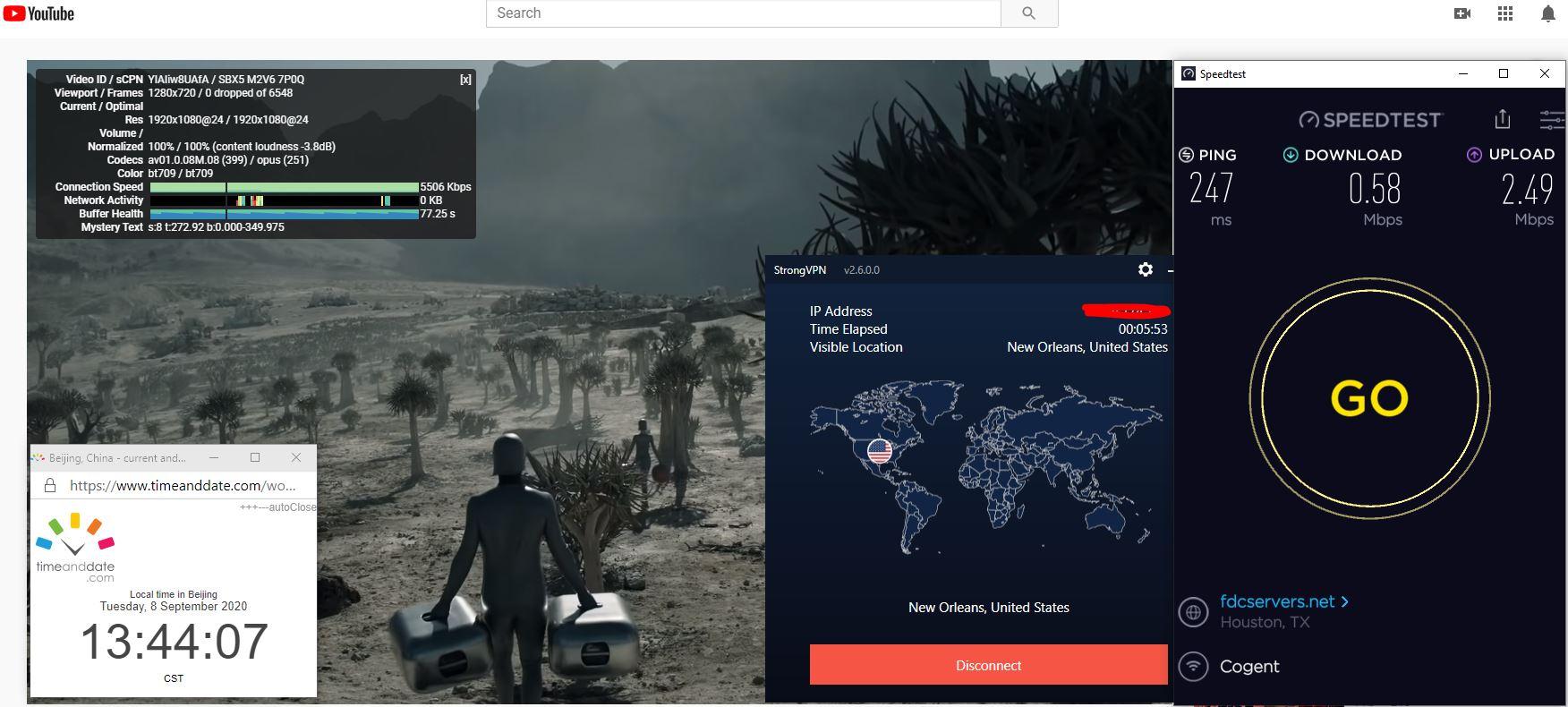 Windows10 StrongVPN USA - New Orleans 中国VPN 翻墙 科学上网 翻墙速度测试 - 20200908