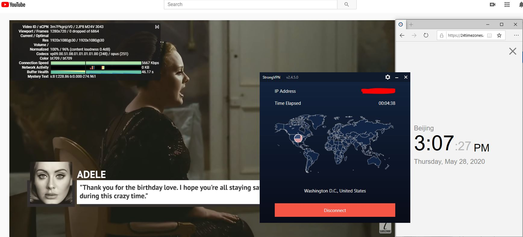 Windows10 StrongsVPN Washington DC - USA 中国VPN 翻墙 科学上网 测速-20200528