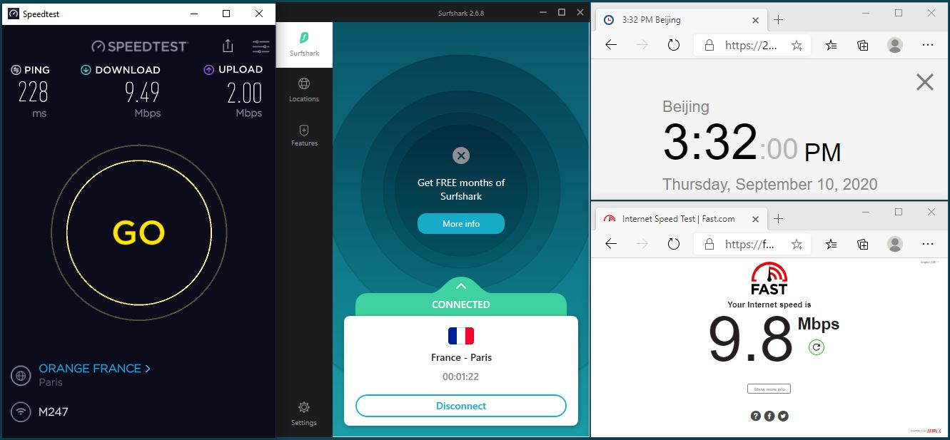 Windows10 SurfsharkVPN App France - Paris 中国VPN 翻墙 科学上网 翻墙速度测试 - 20200910
