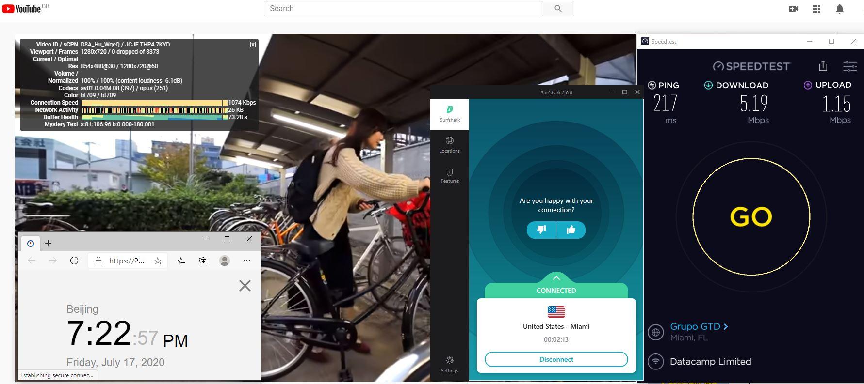 Windows10 SurfsharkVPN Miami - USA 中国VPN 翻墙 科学上网 测速-20200717