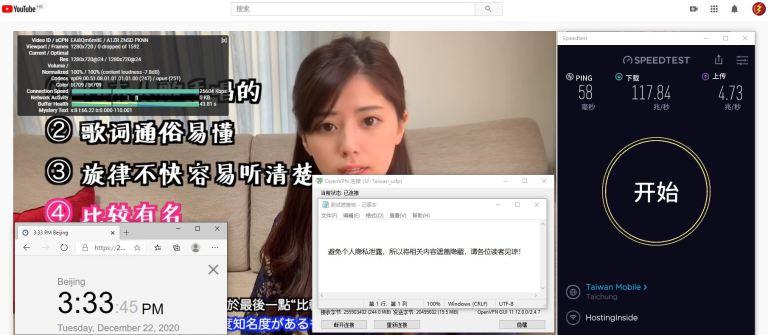 Windows10 SurfsharkVPN Taiwan 服务器 中国VPN 翻墙 科学上网 测试 - 20201222