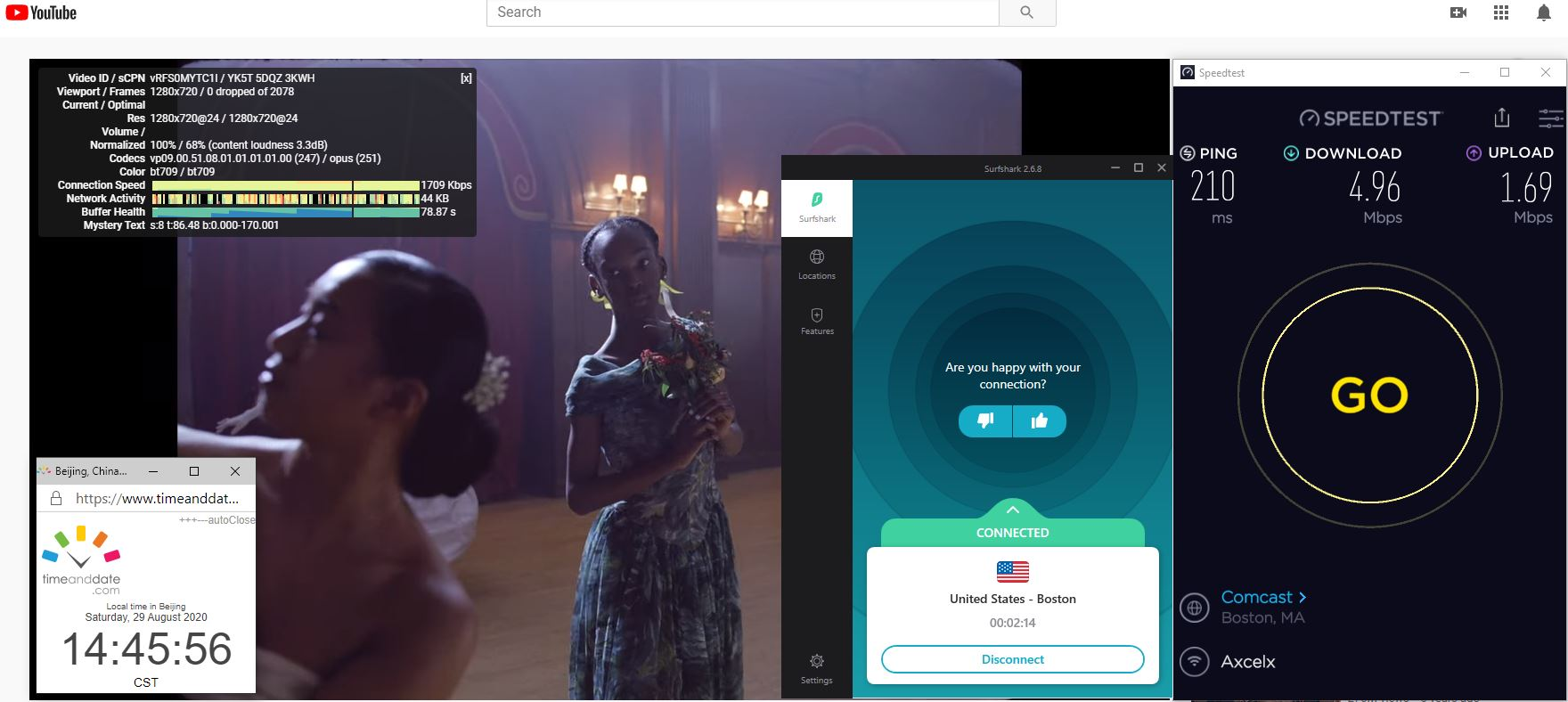 Windows10 SurfsharkVPN USA - Boston 中国VPN 翻墙 科学上网 翻墙速度测试 - 20200829