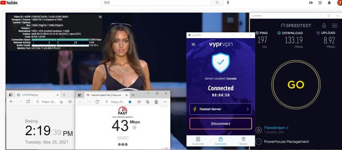 Windows10 VypeVPN WireGuard协议 Fast - Canada 服务器 中国VPN 翻墙 科学上网 10BEASTS Barry测试 - 20210525