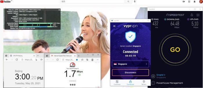 Windows10 VypeVPN WireGuard协议 Singapore 服务器 中国VPN 翻墙 科学上网 10BEASTS Barry测试 - 20210525