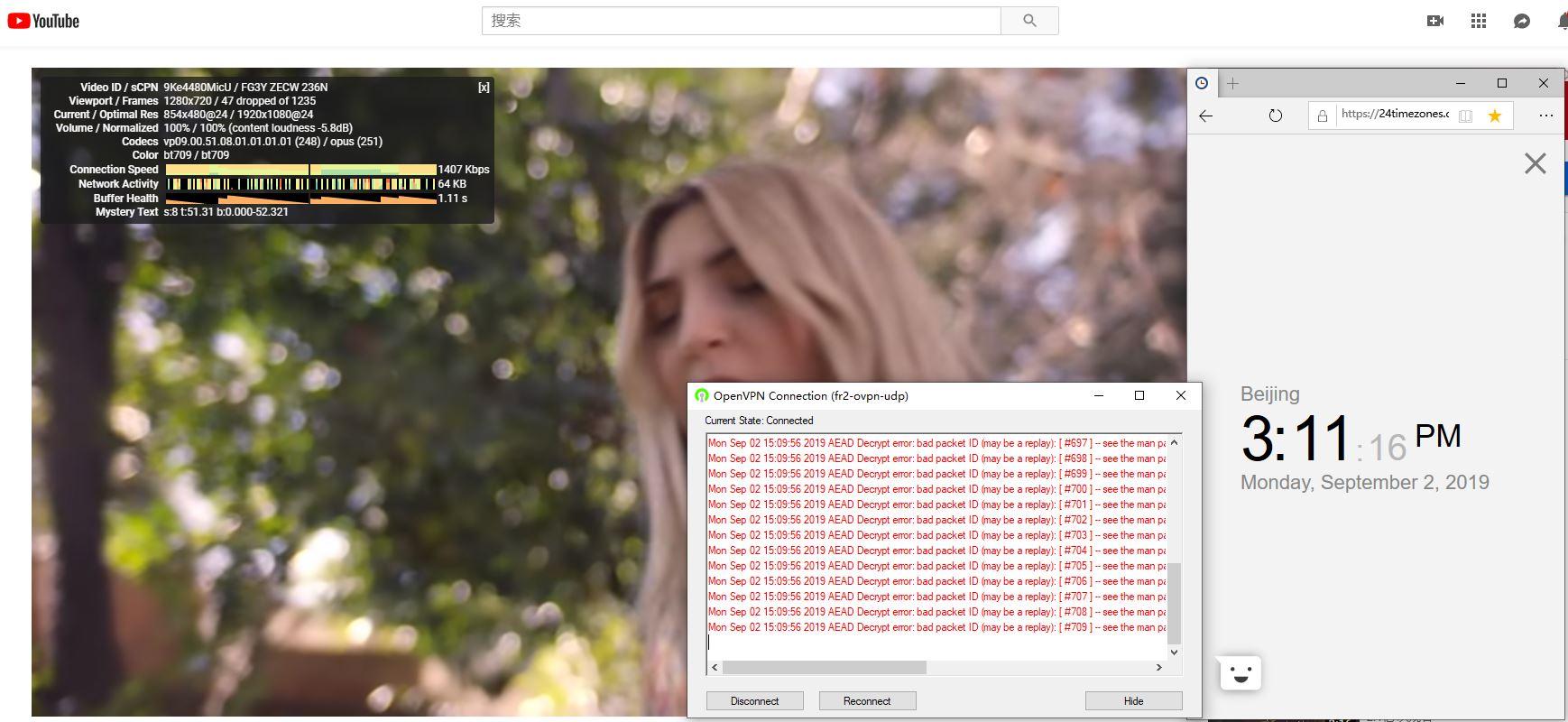 ivacyvpn windows fr2-udp 服务器 中国翻墙 科学上网 YouTube测速-20190902