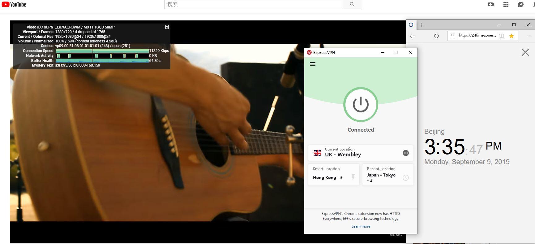 windows ExpressVPN UK-wemble 服务器 中国VPN翻墙 科学上网 YouTube速度测试-20190909