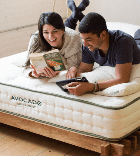 man and woman on avocado mattress