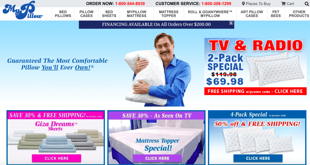 MyPillow website home page