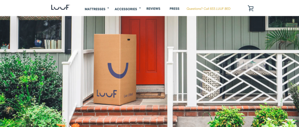 Luuf Mattress in a box on front porch
