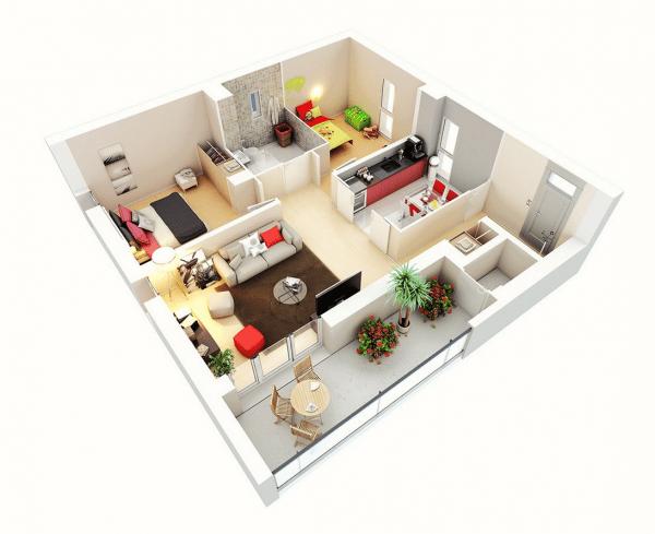 Διακόσμηση-Εσωτερικών-Χώρων-Τρισδιάστατο Σπίτι με 2 υπνοδωμάτια