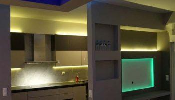 Ομοιόμορφος φωτισμός κουζίνας και σαλονιού