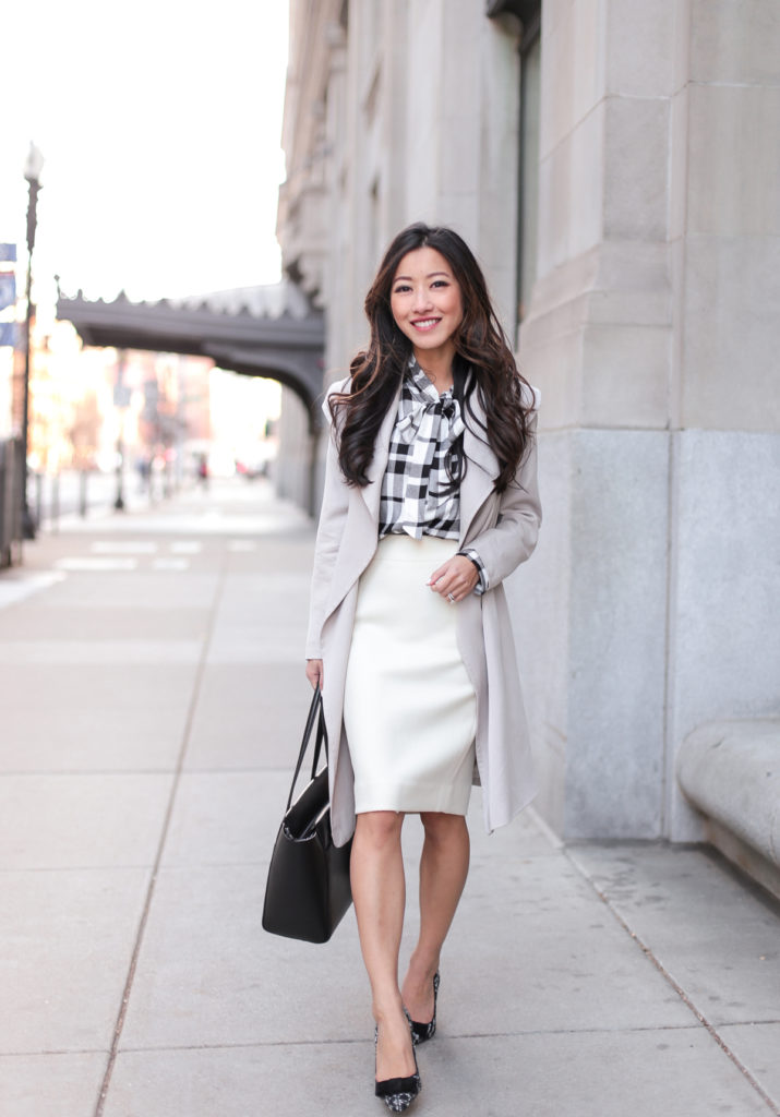 Business Casual Outfits // Plaid Flannel + Winter White