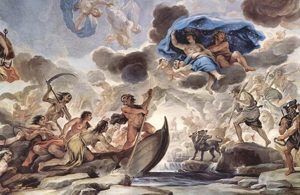 yunan mitolojisi tanrılar fresco mural charon