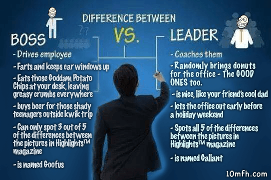 funny boss vs leader meme