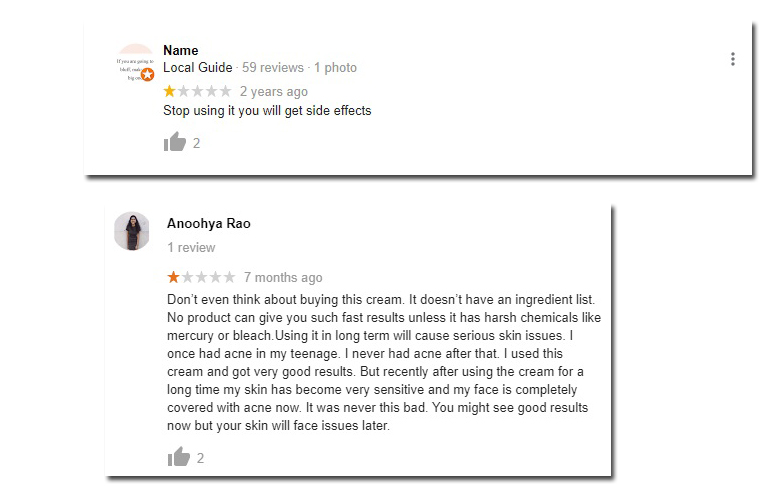 Classic White Cream Negative Reviews